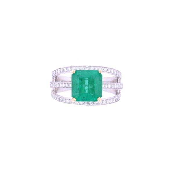 Graceful 3.44ct Green Emerald & Diamond Ring