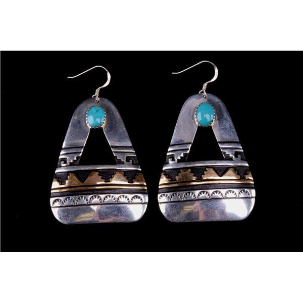 T & R Singer Navajo Silver & Turquoise Earrings