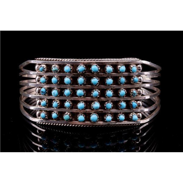 Zuni Don Lucas Silver & Petite Turquoise Bracelet