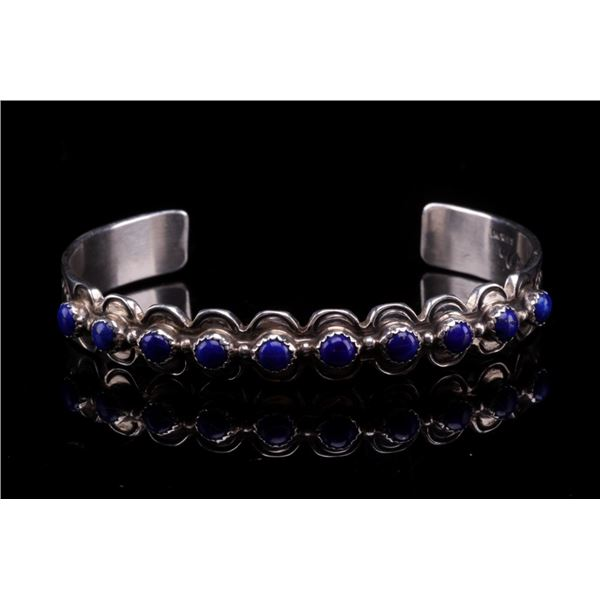 Navajo M. Willie Do Silver & Lapis Lazuli Bracelet