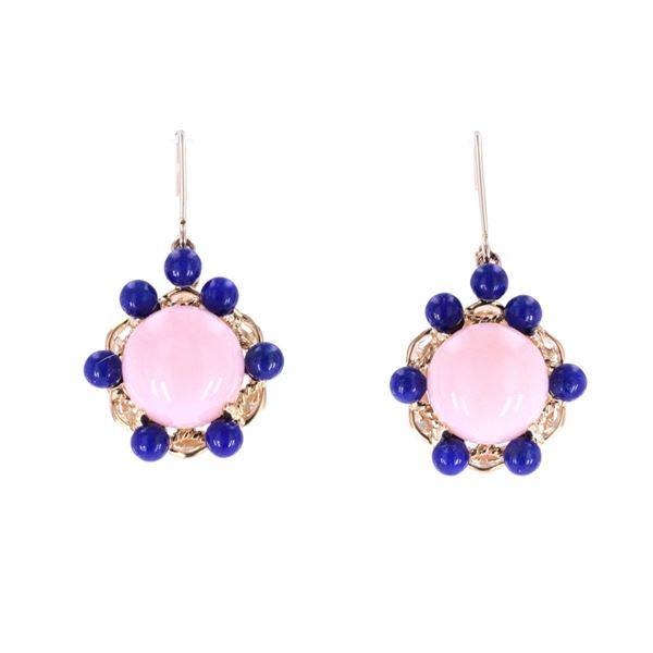 Pink Opal & Lapis Lazuli 14k Yellow Gold Earrings