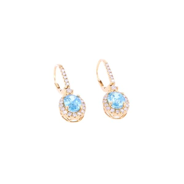 RARE Blue Zircon & Diamond 14k Gold Earrings