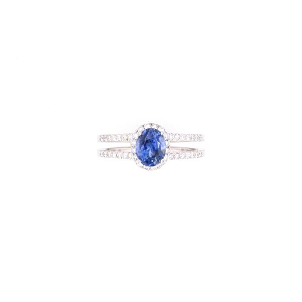 Blue Sapphire & Diamond Ring w/ AIGL Paperwork