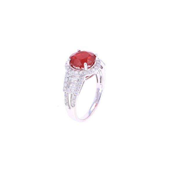 Fire Opal & Diamond 14k White Gold Ring