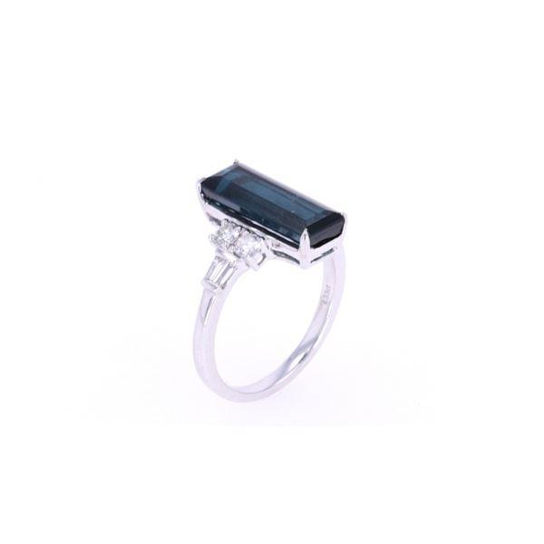 Indigo Iodite & Diamond 14k White Gold Ring