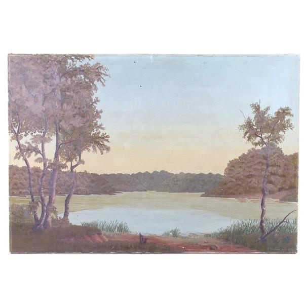 F. Nielsen Original Lake Landscape Oil Painting