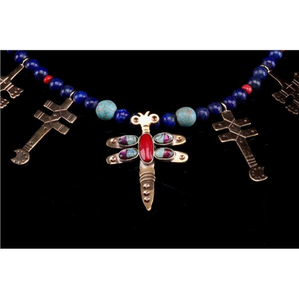 Armand American Horse Cross & Dragonfly Necklace
