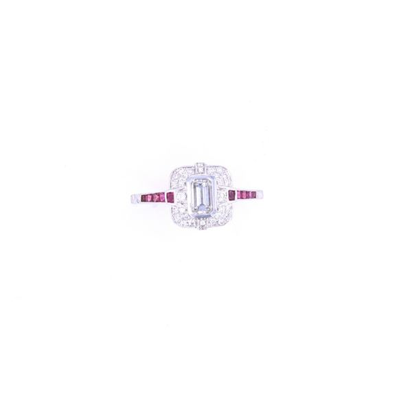 Art Deco RARE VS2 Diamond & Ruby 18k Gold Ring