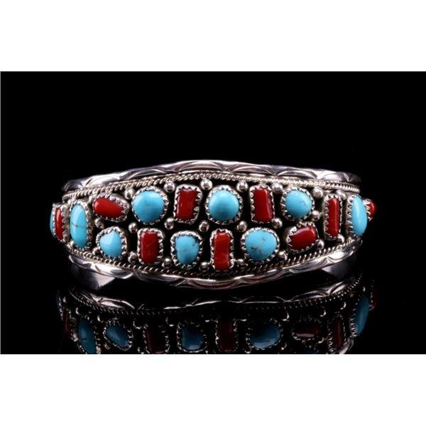 Navajo Kanteena Silver Turquoise & Coral Bracelet