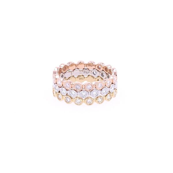 Brilliant Diamond 14k Tri-Tone Gold Stacking Rings