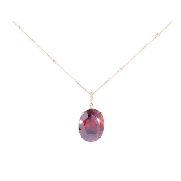 Sphalerite & Diamond 14k Yellow Gold Necklace