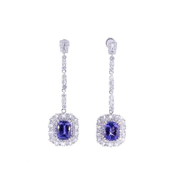 Classic Tanzanite & Diamond 18K Dangle Earrings