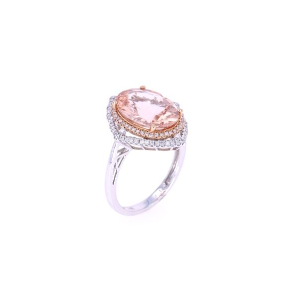 Morganite & Diamond 14k Two Tone Gold Ring