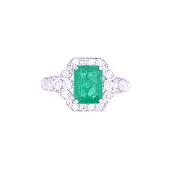 Stunning Emerald & VS2 Diamond Platinum Halo Ring