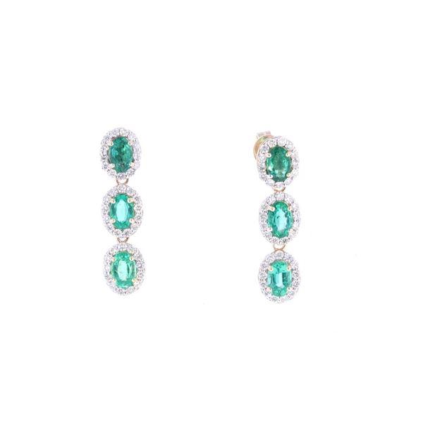 Luxury Graduated Natural Emerald Dangle Earrings