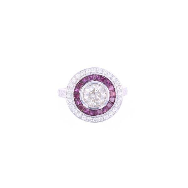 Art Deco Antique Style Diamond Ruby 18k Gold Ring