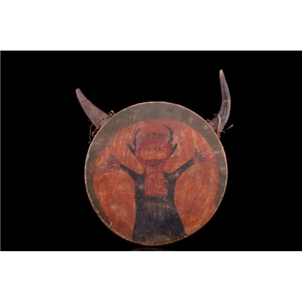"""Northern Plains """"Red Horn"""" Rawhide Ceremonial Drum"""