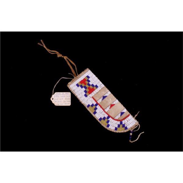 Lakota Sioux Beaded Buffalo Parfleche Knife Sheath