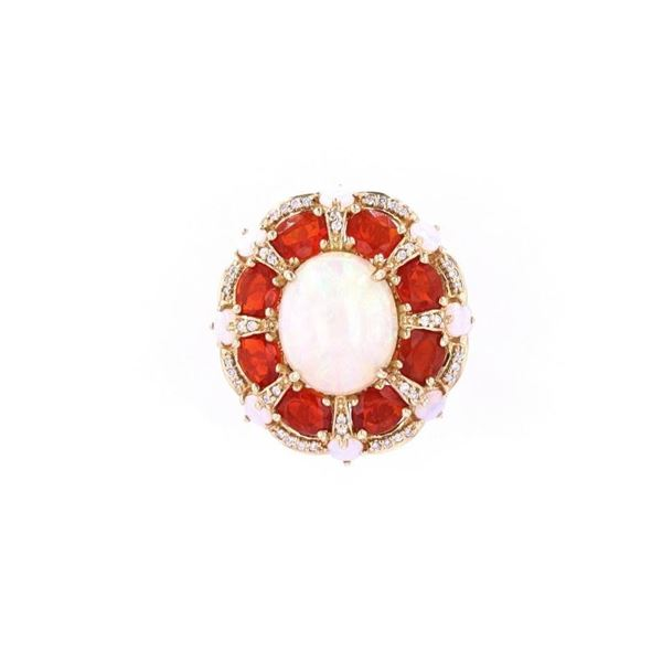 Ethiopian Opal & Fire Opal Diamond 14k Gold Ring