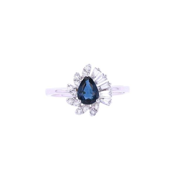 Vintage Estate Blue Sapphire & Diamond 18k Ring