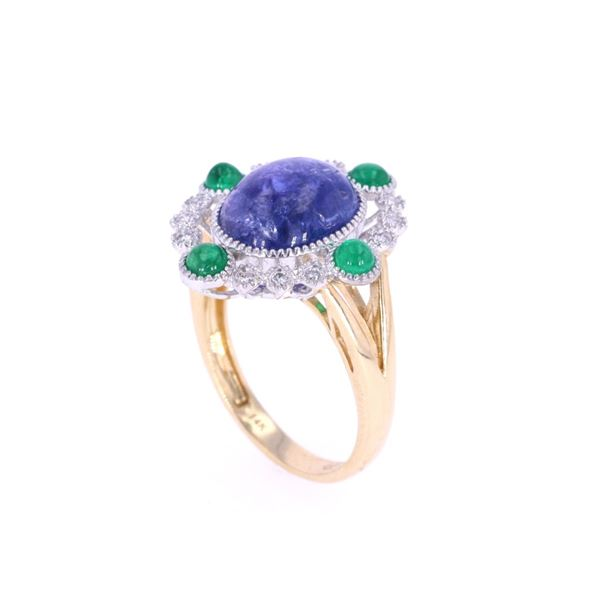 Tanzanite & Emerald Diamond 14k Gold Ring
