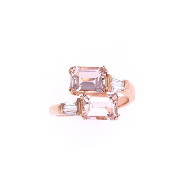 Morganite & Diamond 18k Rose Gold Ring