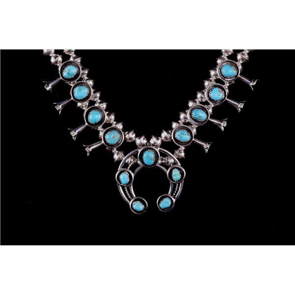 Navajo P. Garcia Silver & Turquoise Squash Blossom
