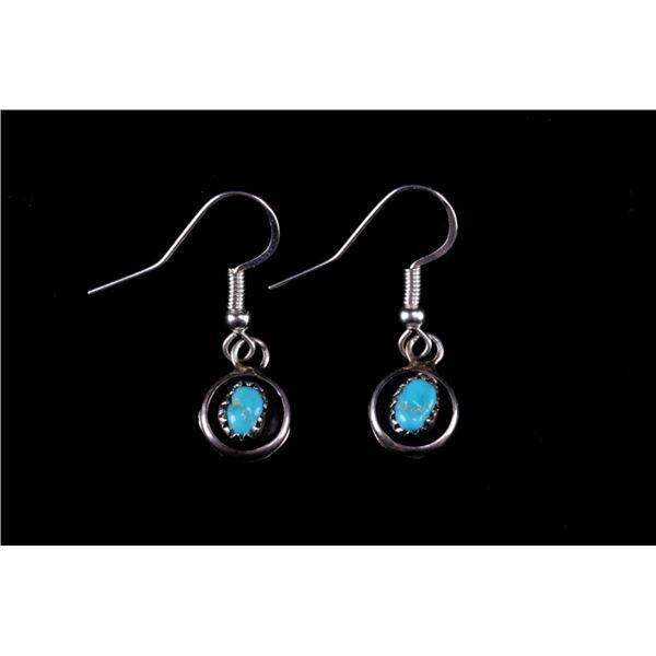 Navajo Phil Garcia Silver & Turquoise Earrings