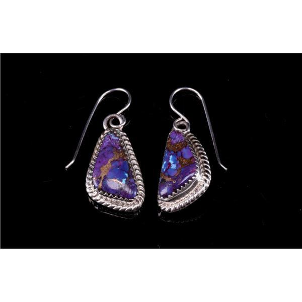 Navajo Herbert Tsosie Silver & Turquoise Earrings