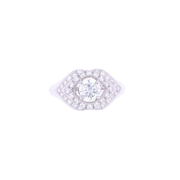 Opulent Vintage 1.23 cts. Diamond Platinum Ring