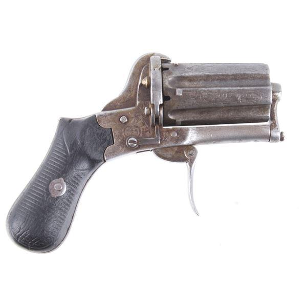 Engraved Belgium 28 Cal Pinfire Pepperbox Revolver