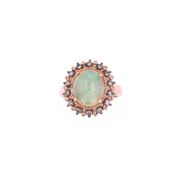 Ethiopian Opal & Brown Diamond 14k Rose Gold Ring
