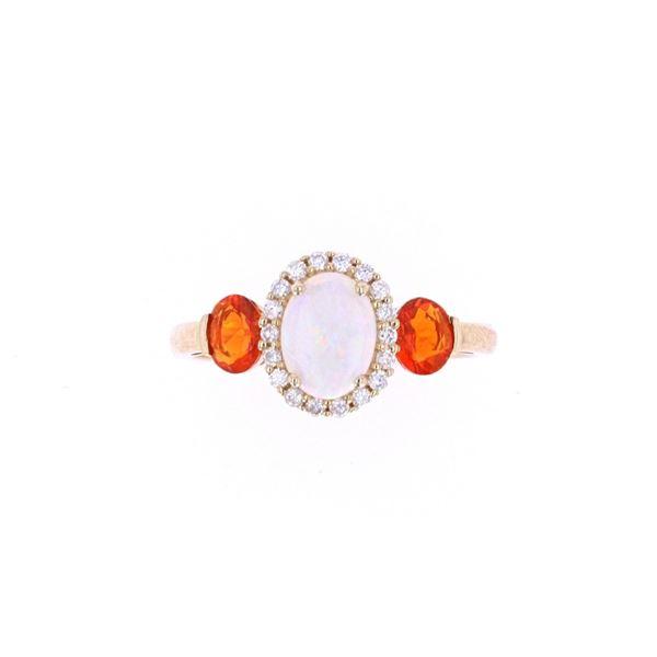 Australian Opal & Fire Opal Diamond 14k Gold Ring