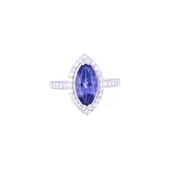 RARE Marquise 3.07ct Tanzanite & Diamond 18k Ring