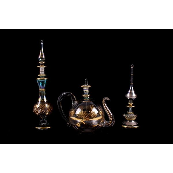 Three Venetian Middle Century Perfume Bottles
