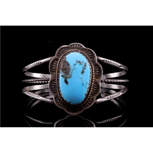 Navajo Herbert Tsosie Silver & Turquoise Bracelet