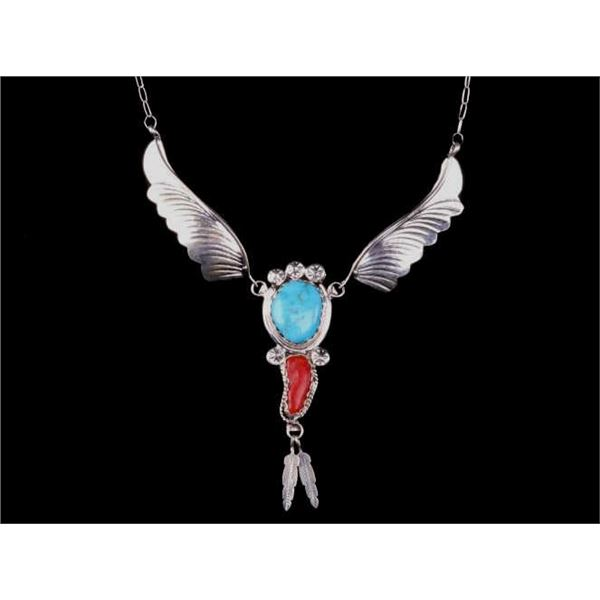 Navajo M. Chee Silver Turquoise & Coral Necklace