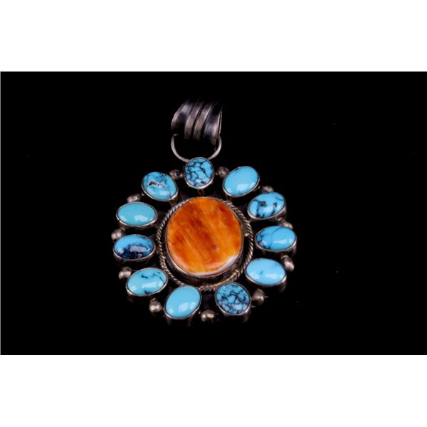 Navajo Richard Begay Silver Multi Stone Pendant