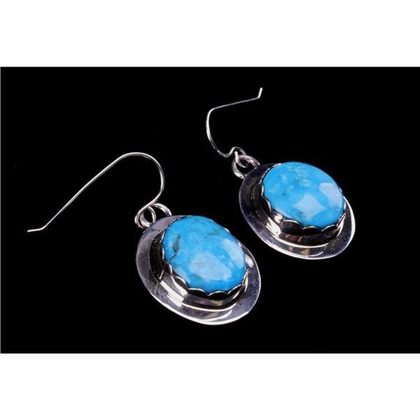 Navajo B. Begay Tsosie Silver Turquoise Earrings