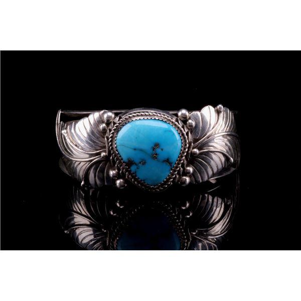 Navajo Silver & Blue Gem Turquoise Bracelet