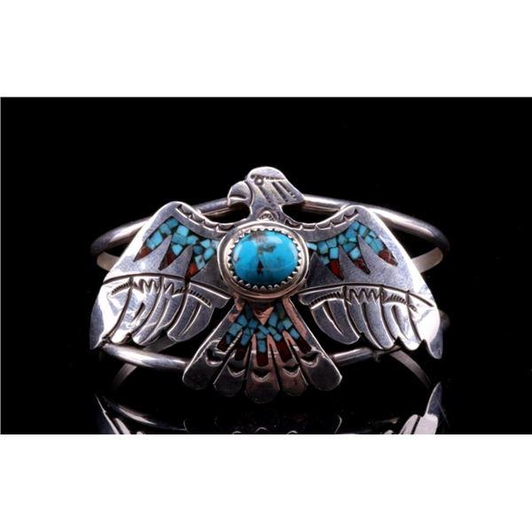 Navajo H. Baca Silver Inlaid Thunderbird Bracelet