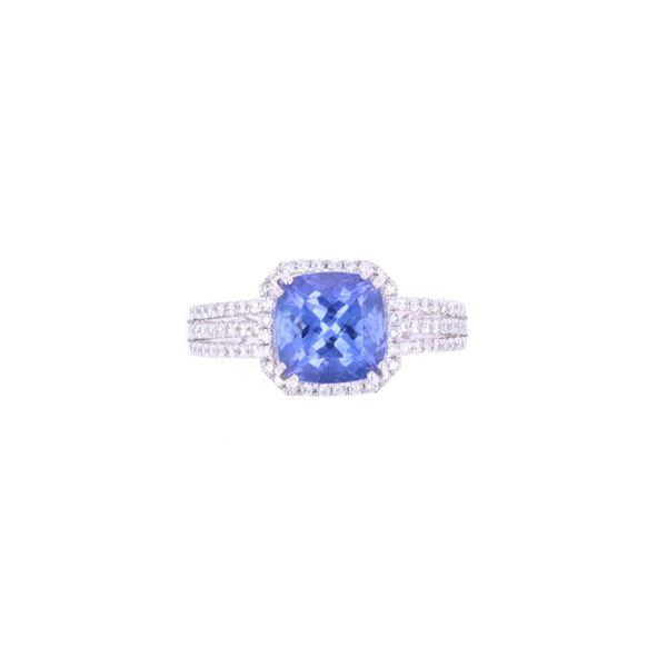 Classic Tanzanite & Diamond Platinum Ring