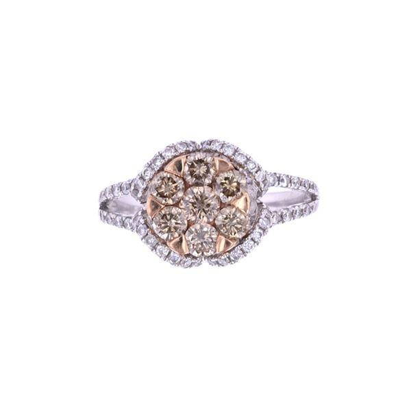 Brown & White Diamond 14k Two Tone Gold Ring