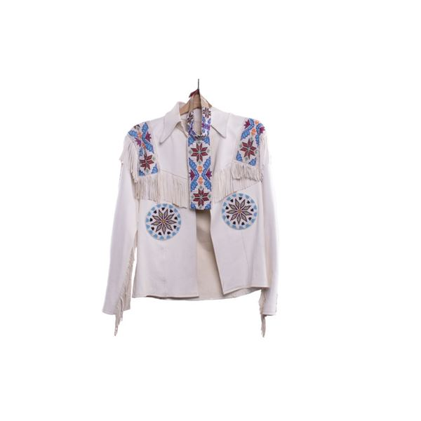 Native American Beaded White Leather Coat