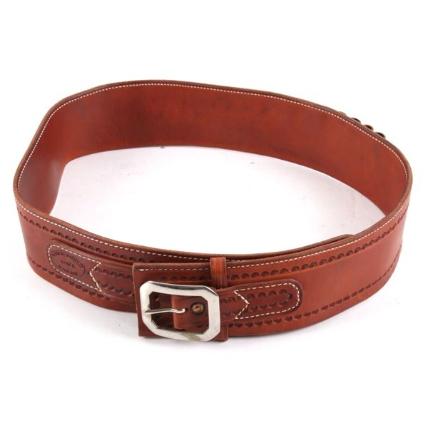 Hand Tooled Western Leather Ammo Gold Finders Belt
