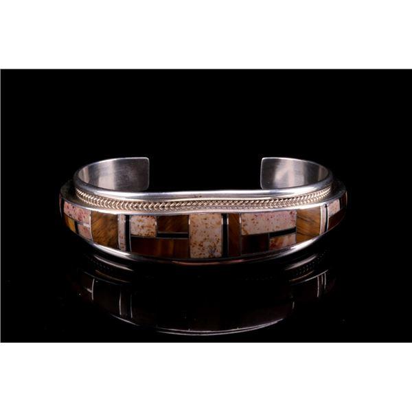 Navajo J. Douglas Silver & Tiger's Eye Bracelet