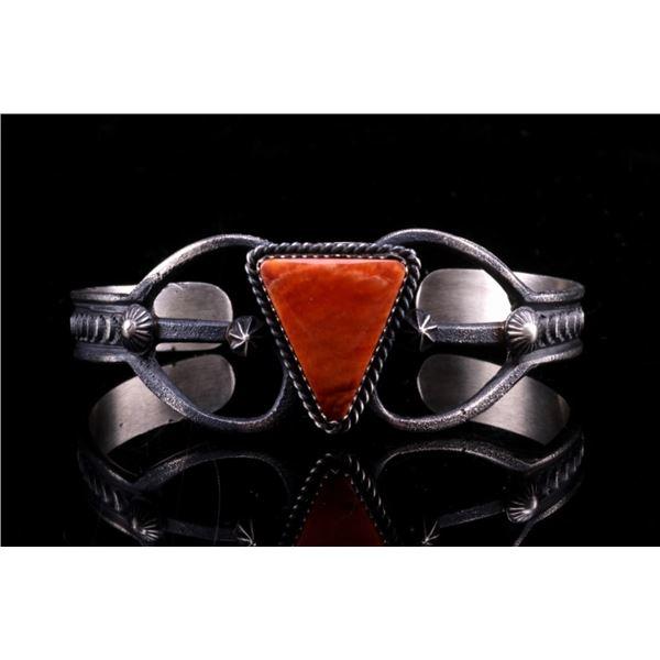 Navajo E & L. Billah Silver Carnelian Bracelet