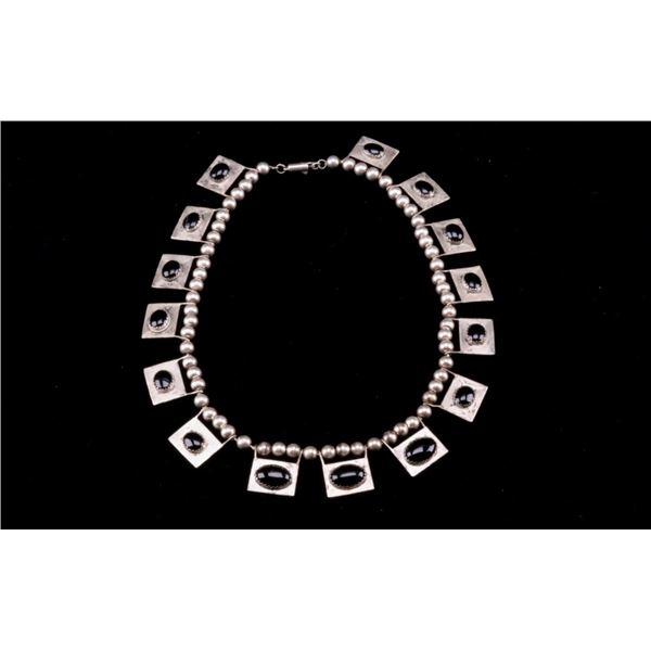 Mexican Sterling Silver & Jet Cabochon Necklace