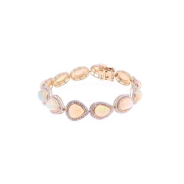 Brilliant Opal & Diamond 14k Yellow Gold Bracelet