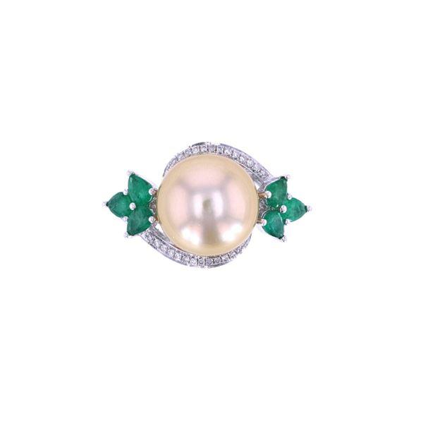 South Sea Pearl Emerald & Diamond 18k Gold Ring